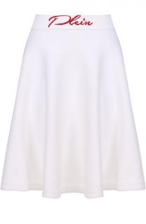 Расклешенная мини-юбка с контрастным логотипом бренда Philipp Plein