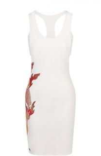 Приталенное мини-платье с контрастными стразами Philipp Plein