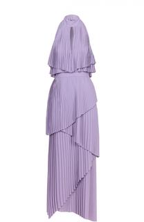 Плиссированное многоярусное платье асимметричного кроя Elie Saab