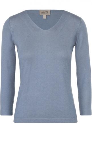 Шелковый пуловер с V-образным вырезом и укороченным рукавом Armani Collezioni