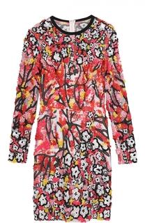 Мини-платье с разрезом и контрастной вышивкой Elie Saab