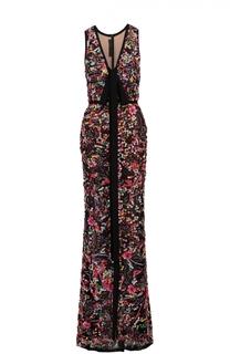 Приталенное платье-макси с контрастной вышивкой Elie Saab