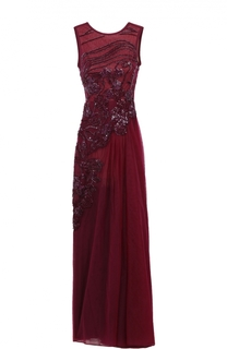 Приталенное платье-макси с открытой спиной и декоративной отделкой Elie Saab