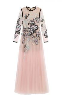 Приталенное платье-макси с декоративной отделкой Elie Saab