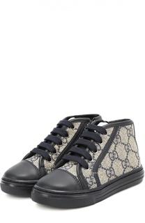 Высокие кеды на шнуровке с молнией Gucci