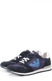 Замшевые кроссовки с вставками из текстиля Giorgio Armani