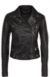 Кожаная куртка с косой молнией и металлизированной отделкой Philipp Plein