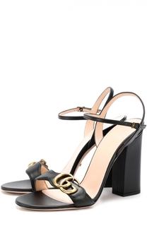 Кожаные босоножки Marmont на устойчивом каблуке Gucci