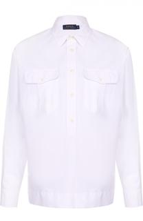 Хлопковая блуза прямого кроя с накладными карманами Polo Ralph Lauren