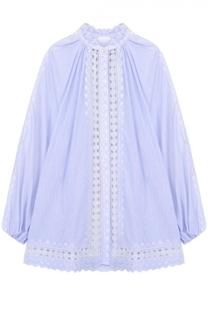 Хлопковая блуза свободного кроя с кружевной отделкой Zimmermann