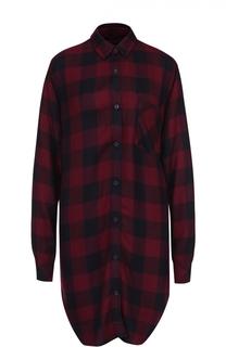 Удлиненная блуза в клетку с накладным карманом Rails