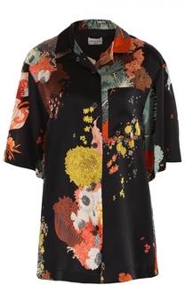 Шелковая блуза прямого кроя с контрастным принтом Dries Van Noten