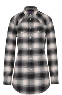 Хлопковая блуза прямого кроя в клетку с накладными карманами Ralph Lauren
