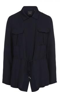 Шелковая приталенная блуза с накладными карманами Theory
