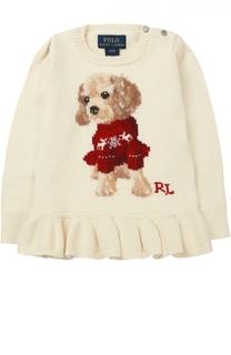 Пуловер с принтом и оборкой Polo Ralph Lauren