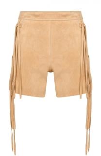 Замшевые мини-шорты с бахромой Chloé