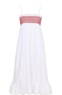 Платье на тонких бретельках с оборкой и завышенной талией Lisa Marie Fernandez