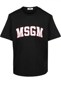 Хлопковая футболка с контрастной надписью MSGM
