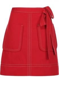 Джинсовая мини-юбка с бантом и накладными карманами No. 21