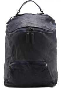 Кожаный рюкзак с внешним карманом на молнии с эффектом крэш Giorgio Brato