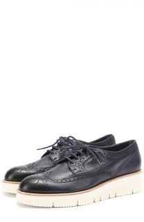 Кожаные ботинки с брогированием Santoni