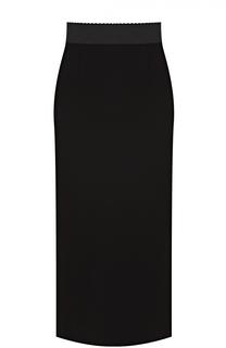 Юбка-карандаш с разрезом и широким поясом Dolce & Gabbana