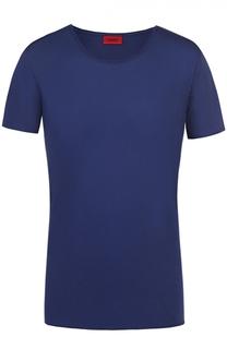 Хлопковая футболка с круглым вырезом и нагрудным карманом HUGO