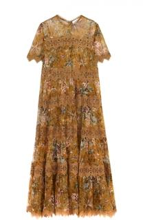 Приталенное платье-макси с цветочным принтом Zimmermann