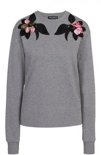 Пуловер прямого кроя с контрастной фактурной отделкой Dolce & Gabbana