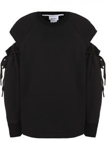 Свитшот свободного кроя с декоративными разрезами на рукавах DKNY