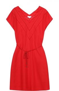 Льняное мини-платье с поясом и V-образным вырезом Escada Sport
