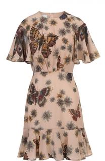 Приталенное мини-платье с оборкой и принтом Valentino