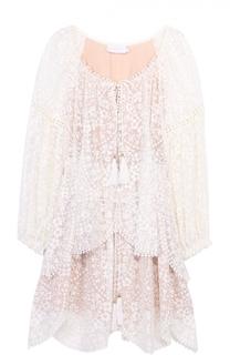 Шелковое кружевное мини-платье с поясом Zimmermann