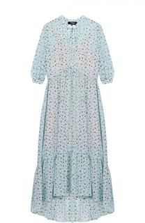 Платье-макси с цветочным принтом и укороченным рукавом Poustovit