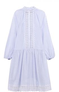 Платье-рубашка свободного кроя с кружевными вставками Zimmermann