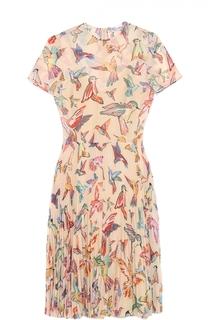 Приталенное платье с плиссированной юбкой и контрастным принтом REDVALENTINO