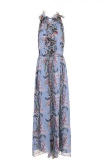 Шелковый комбинезон с оборками и цветочным принтом Zimmermann