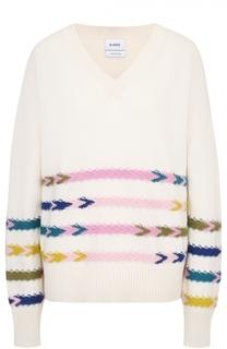Кашемировый пуловер с V-образным вырезом и контрастной отделкой Barrie