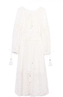 Шелковое кружевное платье-миди с поясом Zimmermann