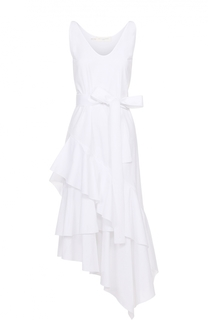 Платье асимметричного кроя с поясом и оборками Aquilano Rimondi