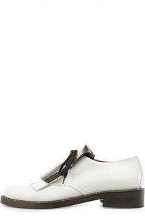 Кожаные ботинки на шнуровке с бахромой Marni