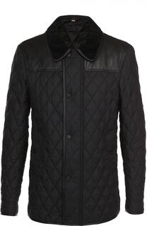 Стеганая куртка на молнии с отделкой из натуральной кожи Burberry