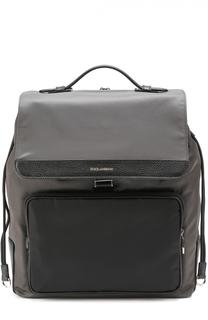 Текстильный рюкзак с внешним карманом на молнии Dolce & Gabbana