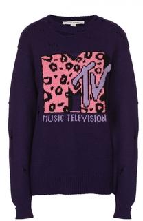 Пуловер свободного кроя с контрастным принтом и круглым вырезом Marc Jacobs