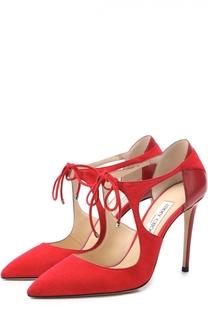 Замшевые туфли Vanessa 100 с кожаной вставкой на шпильке Jimmy Choo