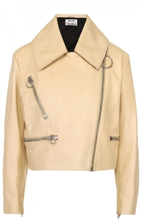 Укороченная кожаная куртка с косой молнией и отложным воротником Acne Studios