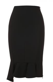 Облегающая юбка асимметричного кроя с оборкой Givenchy