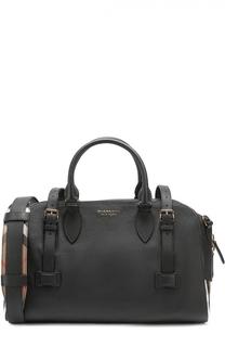 Кожаная дорожная сумка с плечевым ремнем и контрастной отделкой Burberry