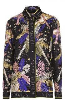Шелковая блуза прямого кроя с контрастным принтом Emilio Pucci