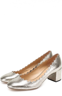 Туфли Lauren из металлизированной кожи с фигурным вырезом Chloé